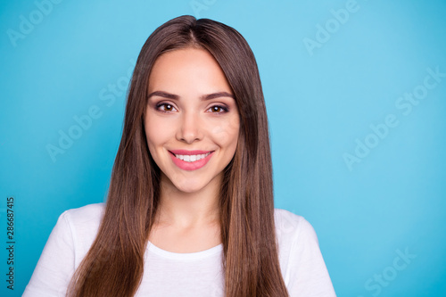 Photo Stands Height scale Close-up portrait of her she nice-looking attractive lovely lovable winsome pretty cheerful cheery straight-haired girl isolated over bright vivid shine blue background