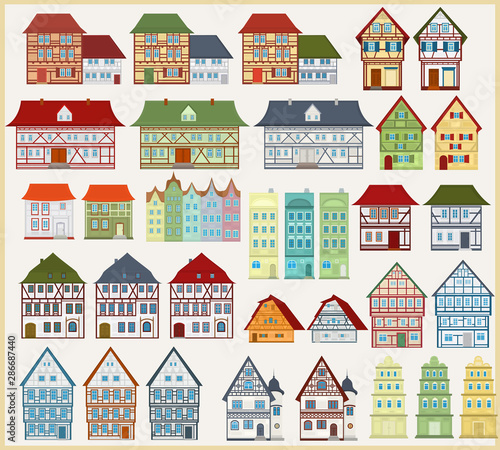 Photo  Set of vector houses and buildings in European style on a light background