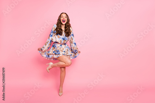 Full size photo of pretty lady posing for prom night pictures wear cute dress isolated pink background
