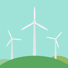 Windmill Working With Natural Wind. Renewable, Clean And Alternative Energy - Eco Green Power. Environment And Sustainability. Vector Flat Illustration Landscape