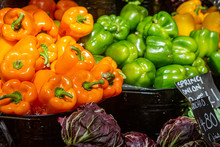 Colourful Bell Peppers For Sale On A Market Stall