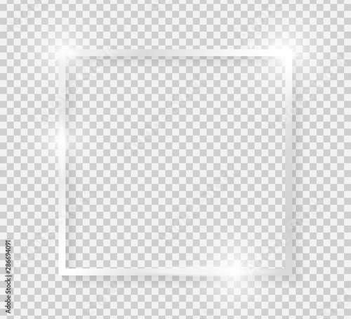 Fototapeta Silver shiny glowing vintage square frame with shadows isolated on transparent background. Platinum luxury realistic rectangle border. Vector illustration obraz