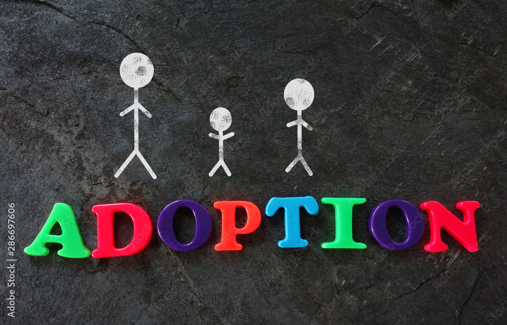 Fototapeta Family of three adoption concept