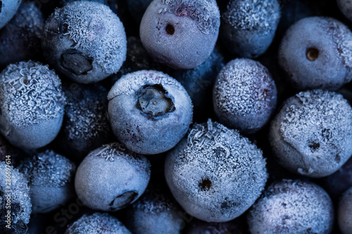 Frozen blueberries background. Healthy organic food. Close up. - 286697614