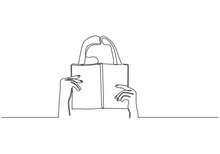 Shy Woman Behind The Book. Continuous One Line Drawing Of A Girl Holding Books. Teenager Lady Study Theme Minimalist Design.