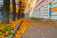 Veliky Novgorod, Russia. The Old Town District In Veliky Novgorod At Autumn Sunny Morning. Autumn City View
