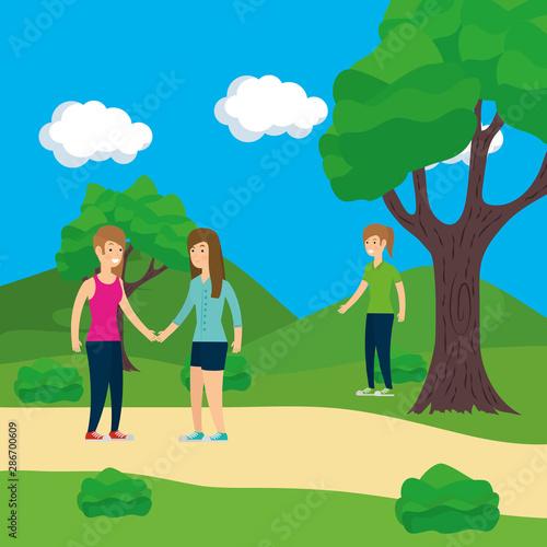 Fototapeta Women in park vector design obraz na płótnie