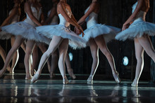Swan Lake Ballet. Closeup Of Ballerinas Dancing