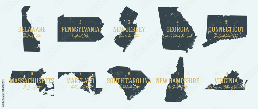 Fototapety, obrazy: Set 1 of 5 Highly detailed vector silhouettes of USA state maps with names and territory nicknames