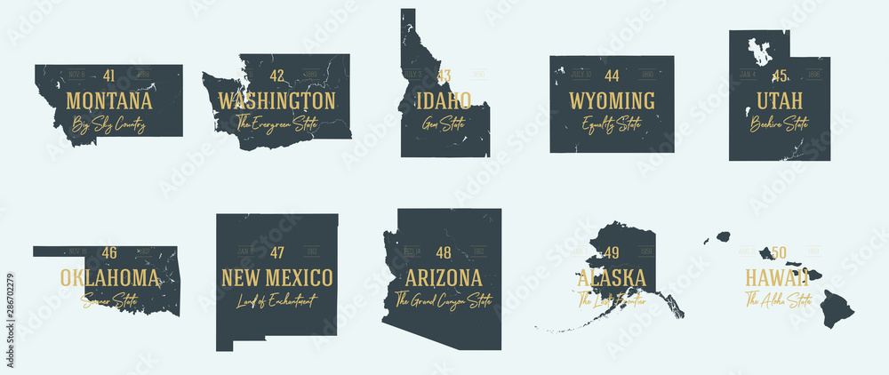 Fototapety, obrazy: Set 5 of 5 Highly detailed vector silhouettes of USA state maps with names and territory nicknames