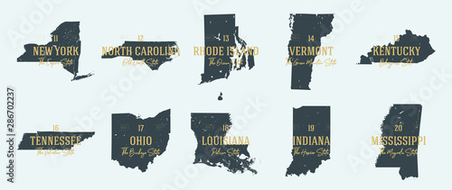 Fototapeta Set 2 of 5 Highly detailed vector silhouettes of USA state maps with names and territory nicknames obraz