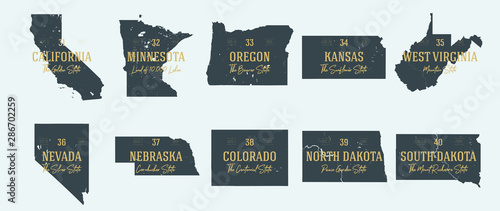 Fototapeta Set 4 of 5 Highly detailed vector silhouettes of USA state maps with names and territory nicknames obraz