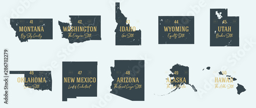 Set 5 of 5 Highly detailed vector silhouettes of USA state maps with names and territory nicknames