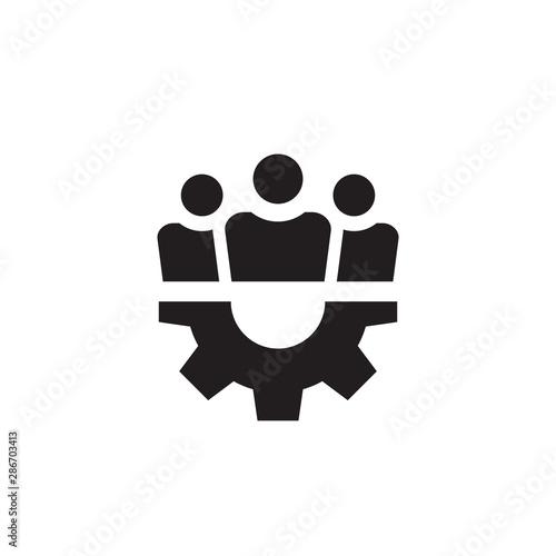 Fototapety, obrazy: Grop people with gear black icon design. Fiendship teamwork sign. Social media symbol. Vector illustration.