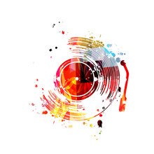 Music Background With Colorful Vinyl Record Disc Vector Illustration Design. Artistic Music Festival Poster, Music Events, Party Flyer