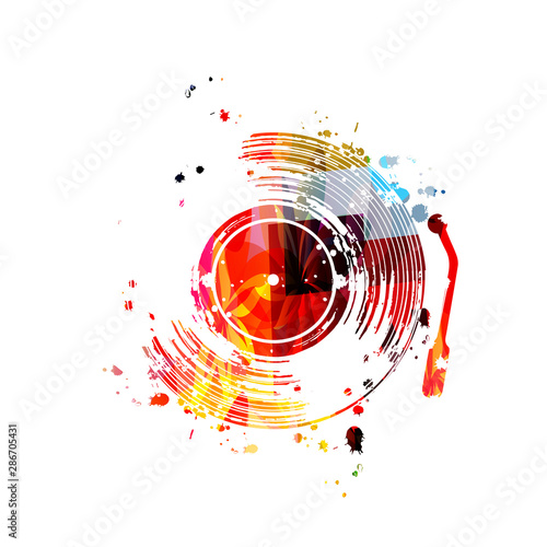 Music background with colorful vinyl record disc vector illustration design Canvas Print