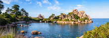 Panoramic View Of The Pors Rolland Creek On The Pink Granite Coast In Northern Brittany, France, An Idyllic Rocky Beach In The Pink Granite Blockfield Of Ploumanac'h.