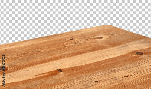 Perspective view of wood or wooden table corner on transparent background including clipping path