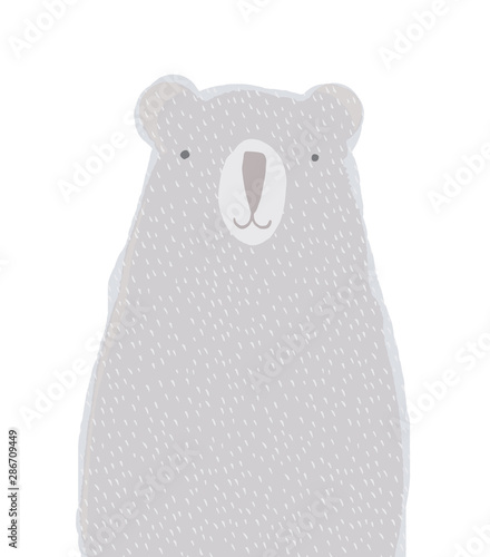 Plissee mit Motiv - Woodland.Watercolor Style Vector Art with Hand Drawn Polar Bear Isolated on a White Background. Cute Big Bear Illustration Ideal for Card, Wall Art, Invitation, Poster, Label, Safari Party Decoration. (von Magdalena)