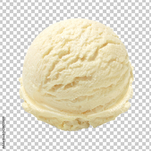Cuadros en Lienzo  Vanilla ice cream scoop isolated on transparent background