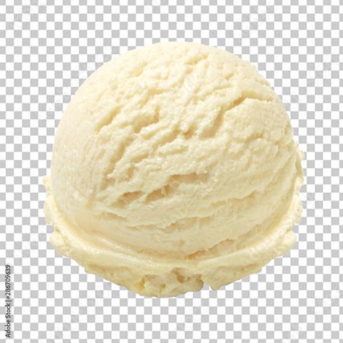 Pinturas sobre lienzo  Vanilla ice cream scoop isolated on transparent background