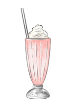 Vector Engraved Style Illustration For Posters, Decoration, Menu, Logo And Print. Hand Drawn Sketch Of Milkshake In Colorful Isolated On White Background. Detailed Vintage Woodcut Style Drawing.