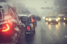 Cars On Winter Road Traffic Ja...