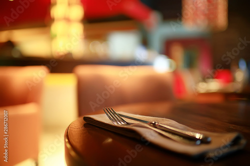 Cadres-photo bureau Pays d Afrique table setting restaurant / cutlery on a table in a cafe, the concept of beautiful food, European style