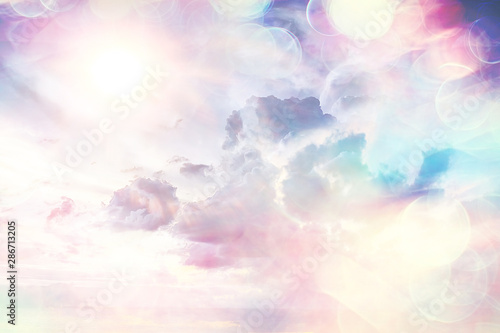 Stampa su Tela  heavenly clouds background / abstract beautiful background of bright clouds in t