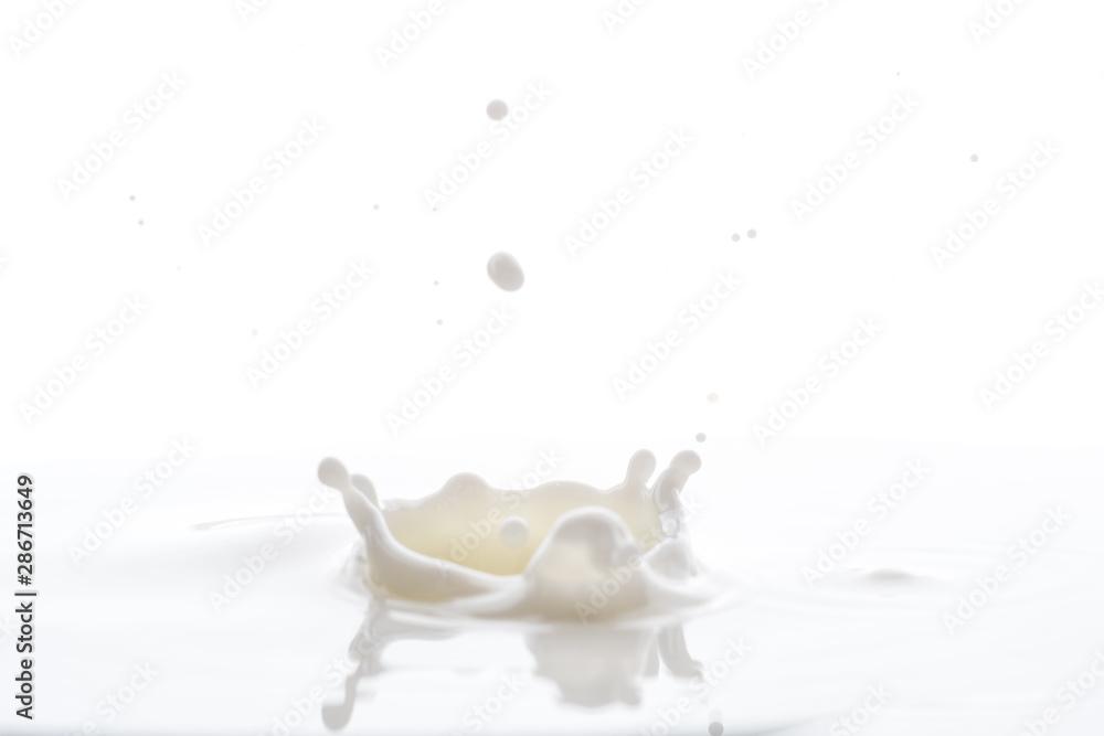 Fototapety, obrazy: splash from falling drops of white milk on a white background