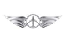 Silver Pilot Wing Emblem, Badge Or Logo Symbol. 3d Rendering