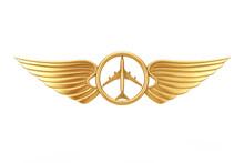 Golden Pilot Wing Emblem, Badg...