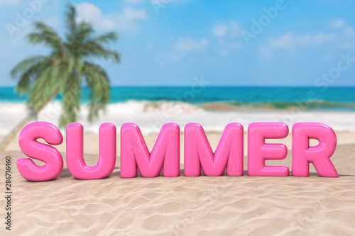 Summer Vacation Concept. Pink Bubble Summer Sign Word on an Ocean Deserted Coast. 3d Rendering