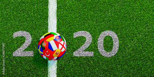 Photo  Soccer ball with flag with line on soccer field and 2020 numbers