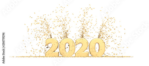 Fotomural Happy New Year 2020 white background