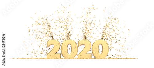 Pinturas sobre lienzo  Happy New Year 2020 white background