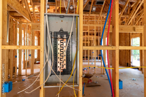 Valokuvatapetti Electrical Circuit Breaker panel in new home construction