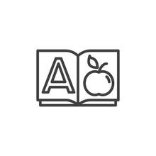 Alphabet Book A Page Line Icon...