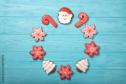 Photo  Christmas cookies on a blue background