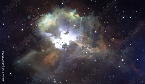Fotografia  Glowing huge nebula with young stars. Space background