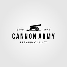 Vintage Cannon Icon Logo Vector Isolated White Background Illustration