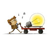 Man is pushing a cart with a large bulb. creativity concept, idea, isolated