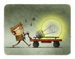 Man is pushing a cart with a large bulb. creativity concept, idea