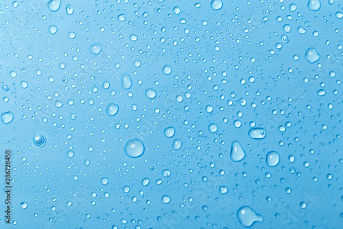 Blue water drops background - 286728450
