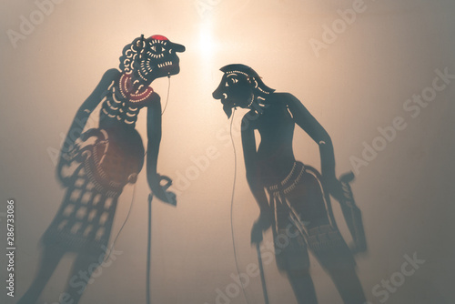 Stampa su Tela traditional public Shadow puppets set, The actor and the audience are separated by a white screen during the show, Thai Nang Talung is a traditional style of shadow puppetry from southern Thailand