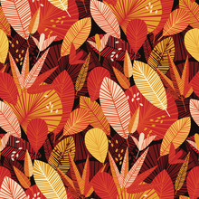 Colorful Tropical Leaves Seamless Pattern