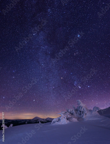 Foto auf Leinwand Aubergine lila Night starry sky in winter mountains