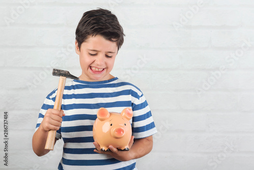 Photo sur Aluminium Graffiti collage funny child with piggy bank