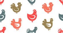 Seamless Pattern With Hen, Chi...