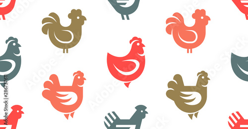 Valokuva Seamless pattern with Hen, chicken logo